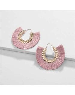 Cotton Threads Tassel Semi-circle Design High Fashion Women Earrings - Pink
