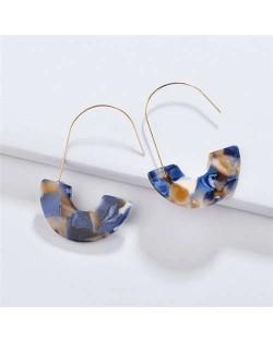 Dangling Semi-circle Acrylic Pendant Design High Fashion Women Earrings - Color 8