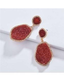 Resin Gem Dangling Irregular Shape Design Women Statement Earrings - Red
