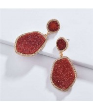 Resin Gem Dangling Irregular Shape Design Women Statement Earrings - Red