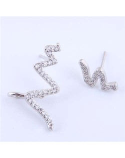 Cubic Zircona Embellished Cardiogram Asymmetric Design Women Fashion Earrings - Silver