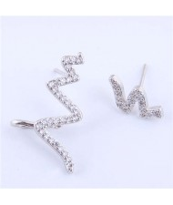 Cubic Zircona Embellished Cardiogram Asymmetric Design Women Fashion Earrings - Silver