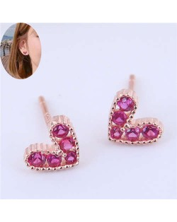 Cubic Zirconia Embellished Heart Shape Cute Fashion Women Earrings - Rose