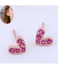 Cubic Zirconia Embellished Heart Shape Cute Fashion Women Earrings - Rose