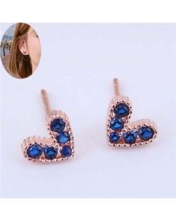 Cubic Zirconia Embellished Heart Shape Cute Fashion Women Earrings - Ink Blue