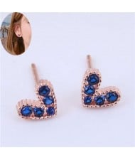 Cubic Zirconia Embellished Heart Shape Cute Fashion Women Earrings - Ink Blue