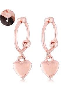 Dangling Heart Design Korean Fashion Women Ear Clips - Golden