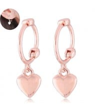 Dangling Heart Design Korean Fashion Women Ear Clips - Golden