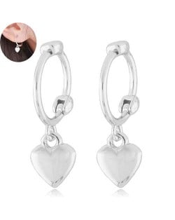 Dangling Heart Design Korean Fashion Women Ear Clips - Silver