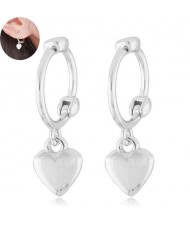 Dangling Heart Design Korean Fashion Women Ear Clips - Silver