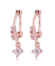 Dangling Cubic Zirconia Korean Fashion Women Ear Clips - Golden