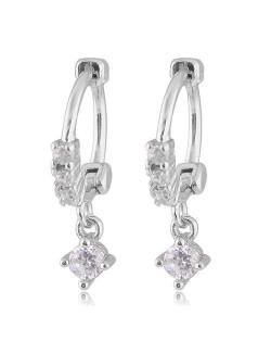 Dangling Cubic Zirconia Korean Fashion Women Ear Clips - Silver