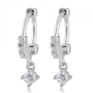 Dangling Cubic Zirconia Korean Fashion Women Ear Clips - Silver
