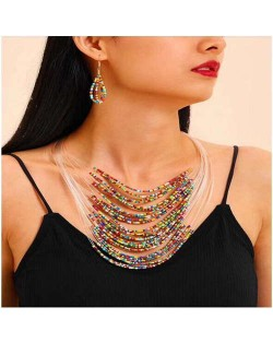 Colorful Beads Bohemian Multi-layer Design High Fashion Women Bib Necklace and Earrings Set