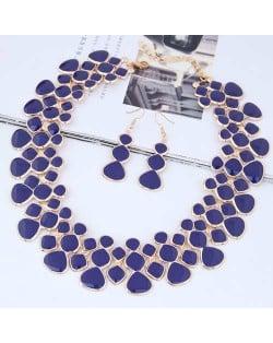Oil-spot Glazed Unique Fashion Flower Cluster Design Alloy Costume Necklace and Earrings Set - Royal Blue