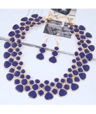 Oil-spot Glazed Unique Fashion Flower Cluster Design Alloy Costume Necklace and Earrings Set - Royal Blue