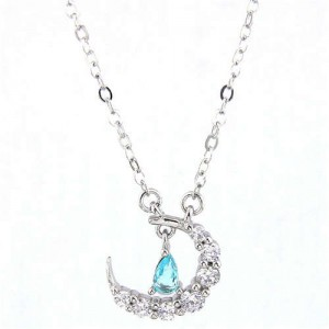 Delicate Moon and Star Design Cubic Zirconia Korean Fashion Women Necklace