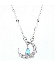 Delicate Moon and Star Design Cubic Zirconia Korean Fashion Women Necklace