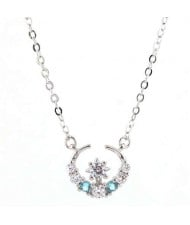 Cubic Zirconia Graceful Star and Moon Combo Design Women Fashion Necklace