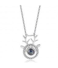 Cubic Zirconia Embellished Deer Design Women Fashion Necklace