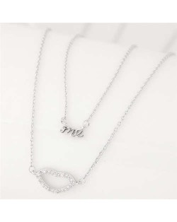 Lips and Alphabets Design Women Fashion Costume Necklace - Silver