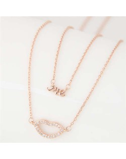 Lips and Alphabets Design Women Fashion Costume Necklace - Golden