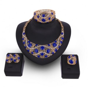 Blue Gems Inlaid Hollow Floral Royal Fashion Costume Jewelry Set