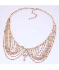 Rhinestone Decorated Collar Style High Fashion Women Statement Necklace - Golden