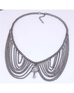 Rhinestone Decorated Collar Style High Fashion Women Statement Necklace - Golden
