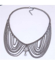 Rhinestone Decorated Collar Style High Fashion Women Statement Necklace - Black
