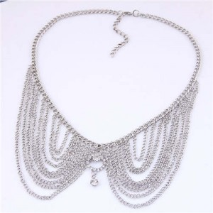 Rhinestone Decorated Collar Style High Fashion Women Statement Necklace - Silver