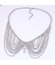 Rhinestone Decorated Collar Style High Fashion Women Statement Necklace - Silver