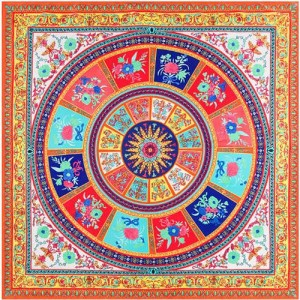 6 Colors Available Floral Pattern Round Disk 130*130 cm Artificial Silk Square Women Scarf