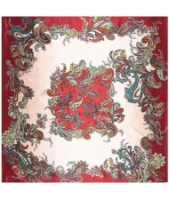 7 Colors Available Magic Fashion Flowers Design 90*90 cm Artificial Silk Square Women Scarf