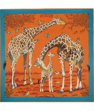 4 Colors Available Giraffes Fashion Design 130*130 cm Square Women Artificial Silk Scarf