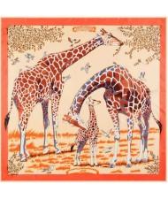 4 Colors Available Giraffes Fashion Design 130*130 cm Square Women Artificial Silk Scarf