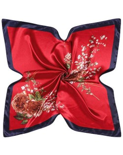4 Colors Available Auspicious Flowers Vintage Fashion 90*90 cm Women Artificial Silk Square Scarf