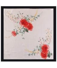 4 Colors Available Auspicious Flowers Vintage Fashion 90*90 cm Women Artificial Silk Square Scarf