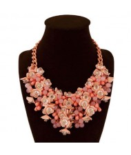 Bold Flower Cluster High Fashion Women Bib Necklace - Red