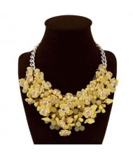 Bold Flower Cluster High Fashion Women Bib Necklace - Yellow