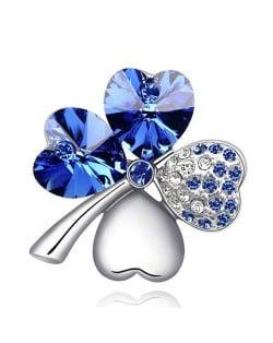 Austrian Crystal and Czech Stones Four Leaf Clover Brooch - Royal Blue