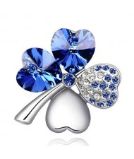 Austrian Crystal and Czech Stones Four Leaf Clover Brooch - Royal Blue
