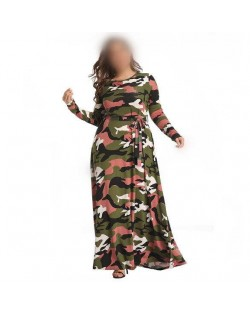 Camouflage Color High Fashion Women Long Dress - Navy Green