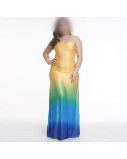 Gradient Color Sleeveless High Fashion Women Long Dress - Blue + Yellow