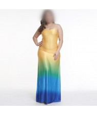 Gradient Color Sleeveless High Fashion Women Long Dress - Blue + Yellow