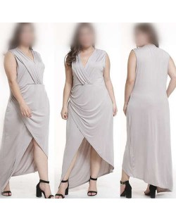 V-neck Sleeveless High Fashion Women Long Dress