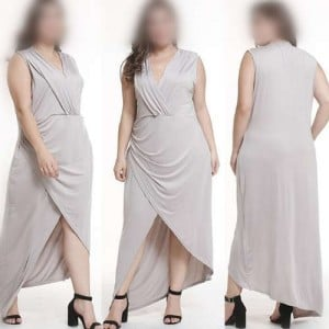 V-neck Sleeveless High Fashion Women Long Dress