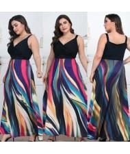 V-neck Straps Abstract Color Design High Fashion Women Long Dress