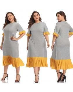 Yellow Flounce Design Gray High Fashion Women Long Dress