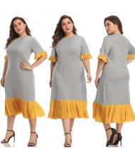 Yellow Flounce Design Gray High Fashion Women Long Dress